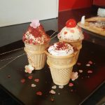 Strawberry sponge wafer cones