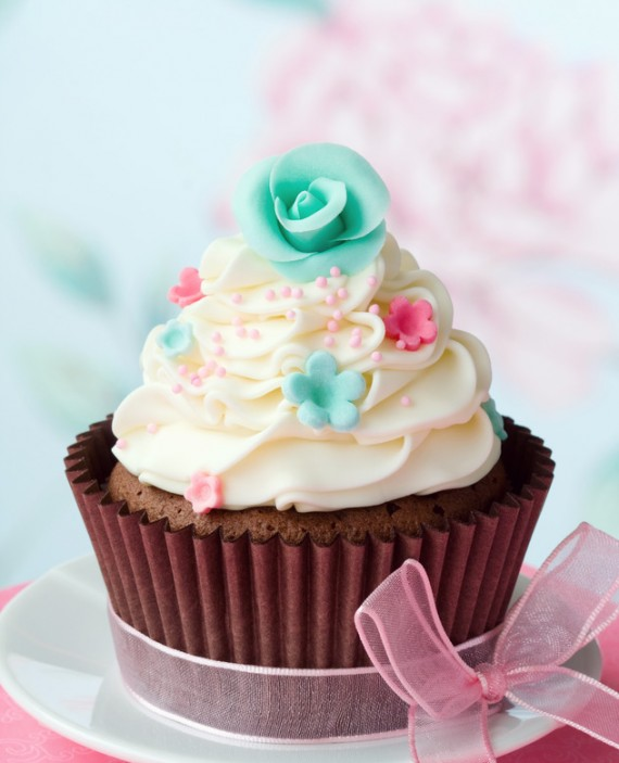 Chocolate cupcake decorated with sugar flowers