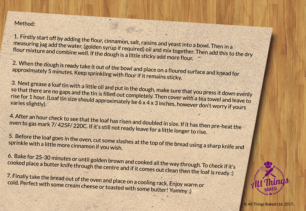 Cinnamon Raisin Loaf Recipe Card (back)